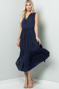 Elastic Smocking Midi Dress - Navy