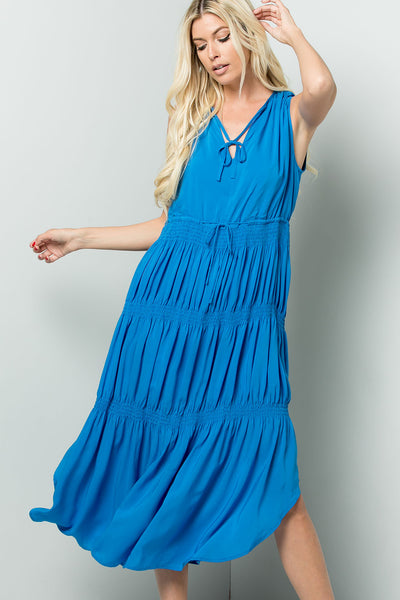 Elastic Smocking Midi Dress - Ocean Blue