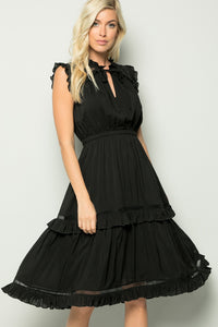 Crochet Frilly Midi Dress - Black