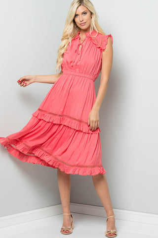 Crochet Frilly Midi Dress - Coral