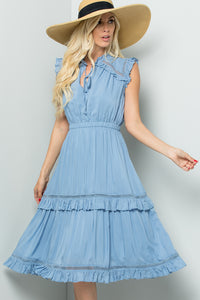Crochet Frilly Midi Dress - State Blue