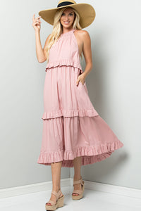 Tiered Halter-neck Summer Dress - Mauve