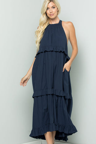 Tiered Halter-neck Summer Dress - Navy