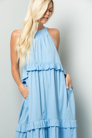 Tiered Halter-neck Summer Dress - Blue