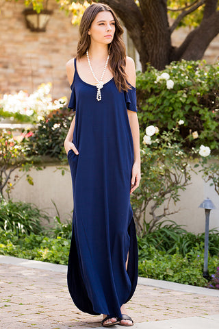 Cold Shoulder Maxi Dress - Navy