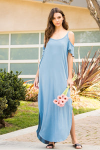 Cold Shoulder Maxi Dress - Chambray