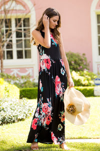 Floral Babydoll  Maxi Dress - Black