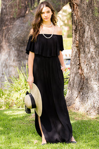 Ruffled Off Shoulder Maxi Dress - Black