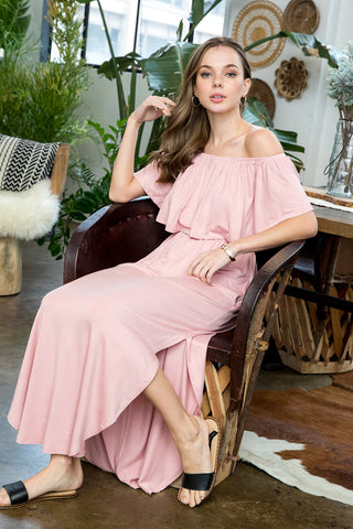 Ruffled Off Shoulder Maxi Dress - Mauve