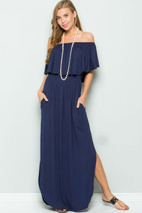 Ruffled Off Shoulder Maxi Dress - Navy
