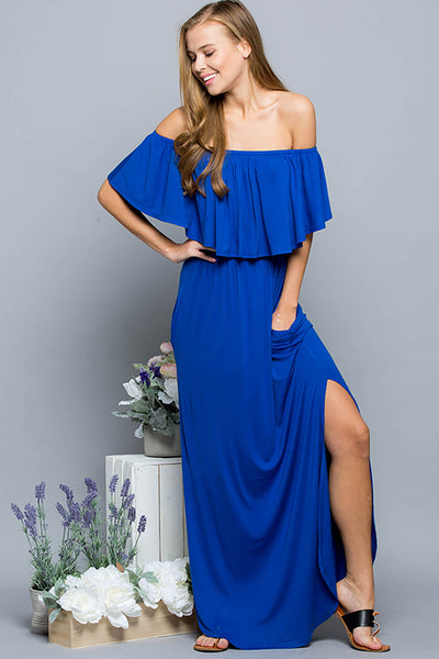 Ruffled Off Shoulder Maxi Dress - Cobalt