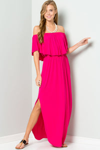 Ruffled Off Shoulder Maxi Dress - Fuchsia