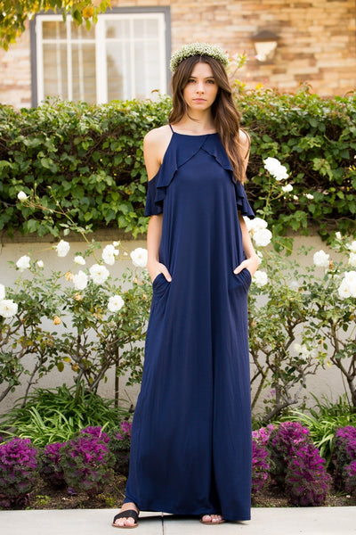 Ruffle Cold Shoulder Maxi Dress - Navy