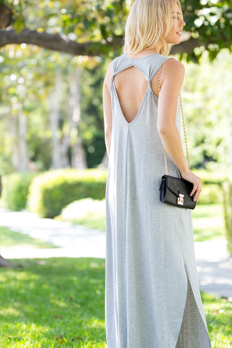 Twist Cut-Out Back Maxi Dress - Heather Grey
