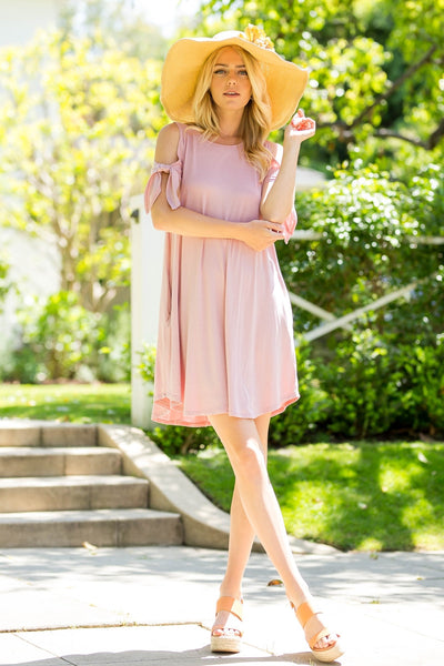 Knotted Sleeves Cold-Shoulder Swing Dress - Mauve