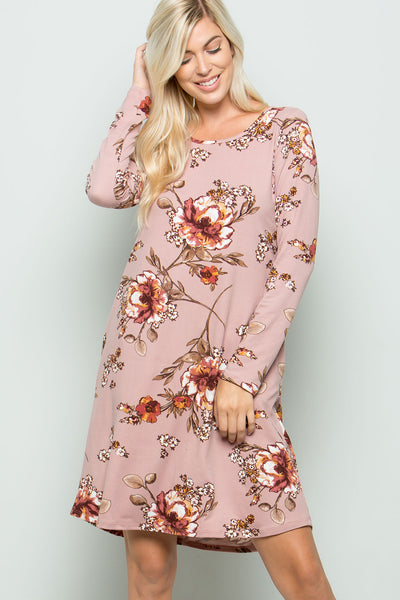 Floral Long Sleeve Jersey Dress - Mauve
