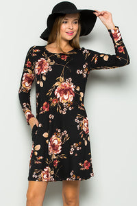 Floral Long Sleeve Jersey Dress - Black
