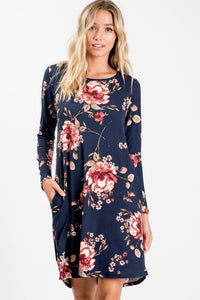 Floral Long Sleeve Jersey Dress - Navy