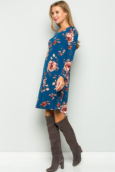 Floral Long Sleeve Jersey Dress - Teal