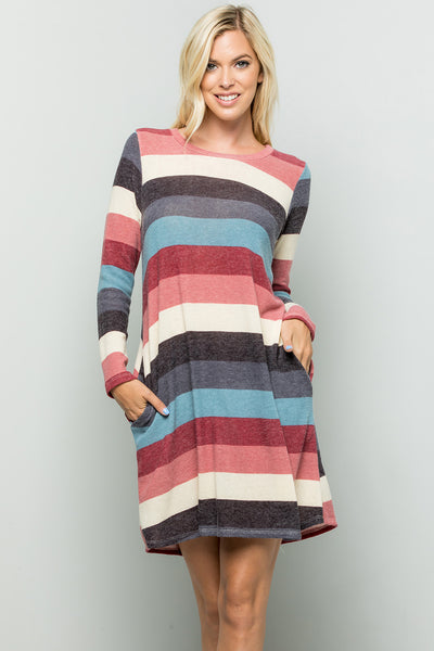 Multi Stripe Print Dress - Burgundy/Ivory