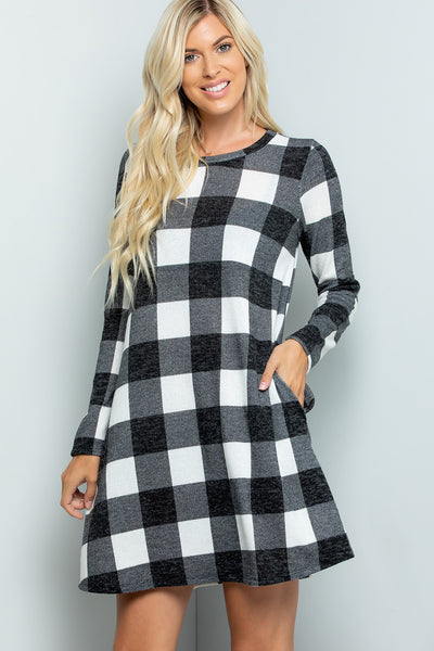 Plaid Swing Dress - Ivory/Black