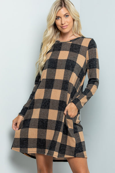 Plaid Swing Dress - Mocha/Black