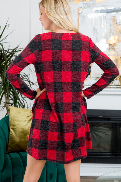 Plaid Swing Dress - Red/Black