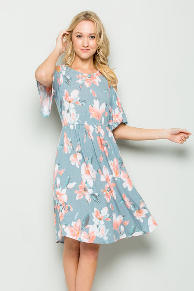 Floral Cold-Shoulder Midi Dress - Blue