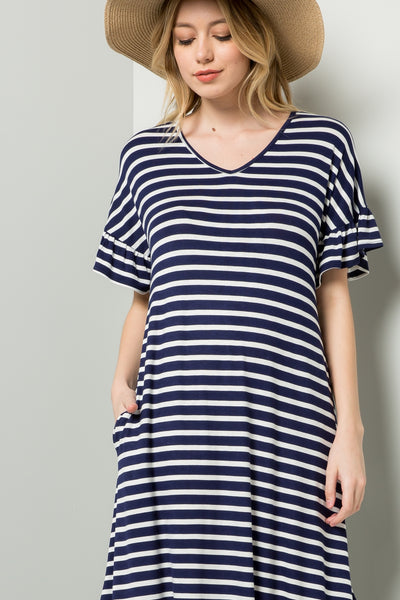 Striped Maxi Dress - Navy