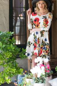 4/3 Sleeves Floral Dress - Ivory