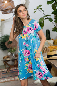 Sweet Delightful Floral Print Dress - Blue