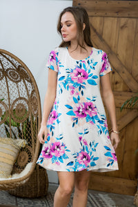 Sweet Delightful Floral Print Dress - Ivory