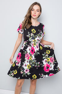 Floral Swing Dress - Black