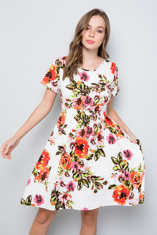 Floral Swing Dress - Ivory/Coral
