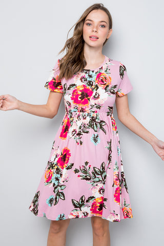 Floral Swing Dress - Pink (Pre-order)
