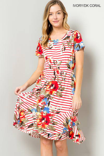 Floral ruffle hem swing dress