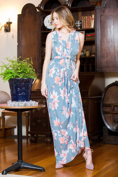 Knot Floral Maxi Dress - Blue