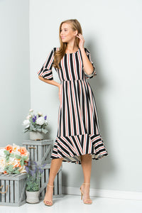 Stripe Ruffle Midi Dress - Black