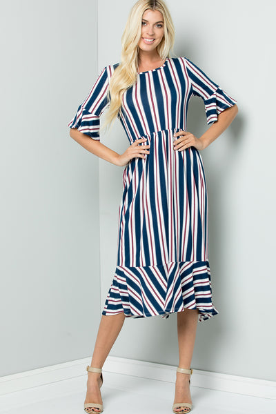 Stripe Ruffle Midi Dress - Navy