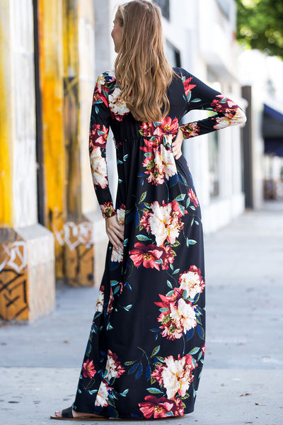 Floral Knotted Maxi Dress - Black