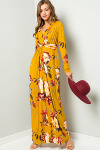 Floral Knotted Maxi Dress - Mustard