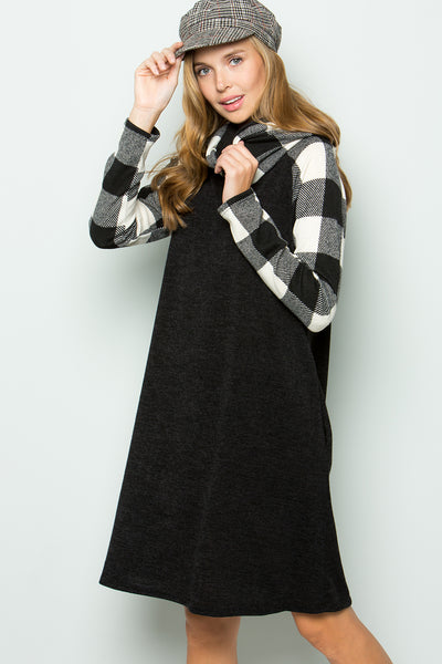 Turtle Neck Plaid Dress - Ivory/Black