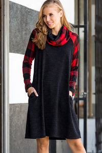 Turtle Neck Plaid Dress - Red/Black