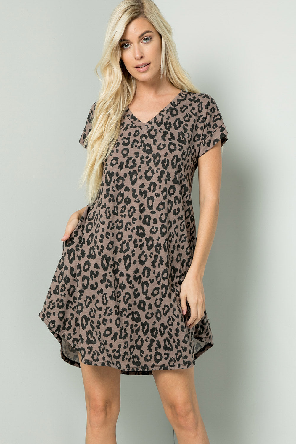 Leopard V-neck Tee Dress - Brown