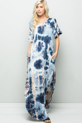 Tie-dyed Maxi Dress - Blue