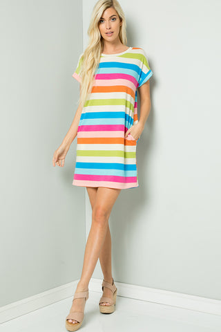 Multi color Stripe Tee Dress - Fuchsia mix