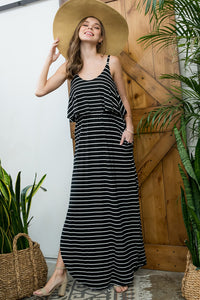 Sleeveless Striped Maxi Dress - Black/Ivory
