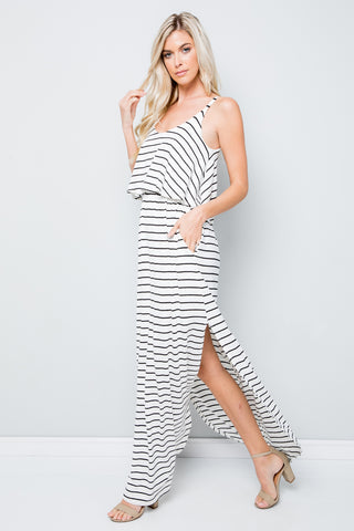 Sleeveless Striped Maxi Dress - Ivory/Black