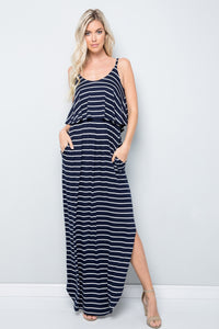Sleeveless Striped Maxi Dress - Navy/Ivory