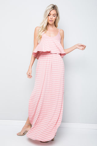 Sleeveless Striped Maxi Dress - Rose/Ivory